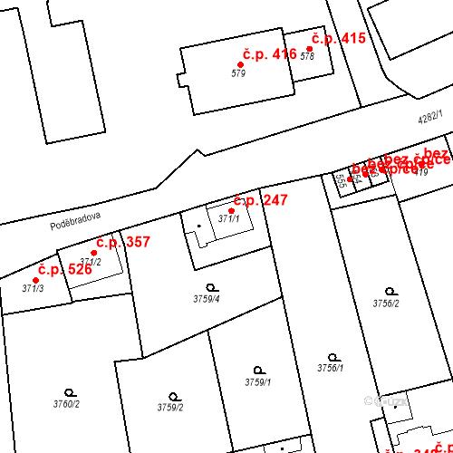 Katastrální mapa Stavební objekt Žlutice 247, Žlutice