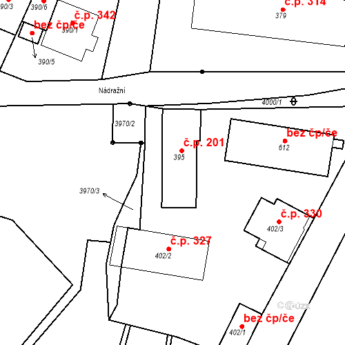 Katastrální mapa Stavební objekt Žlutice 201, Žlutice
