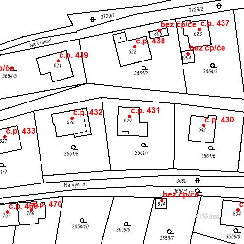 Katastrální mapa Stavební objekt Žlutice 431, Žlutice
