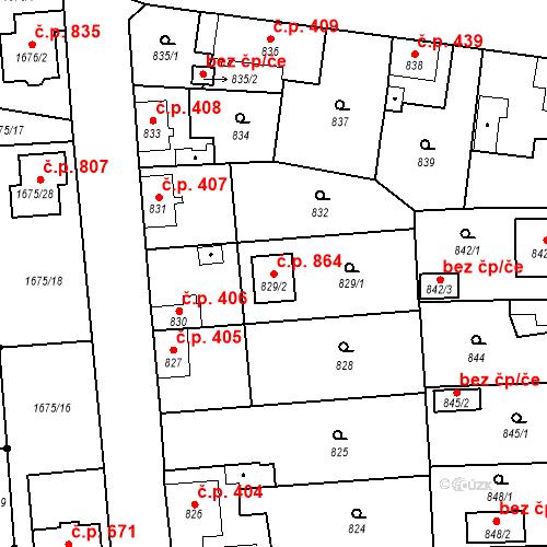 Katastrální mapa Stavební objekt Tlučná 864, Tlučná