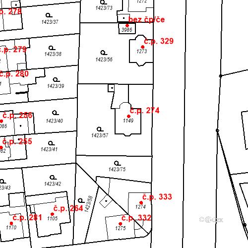 Katastrální mapa Stavební objekt Klatovy III 274, Klatovy