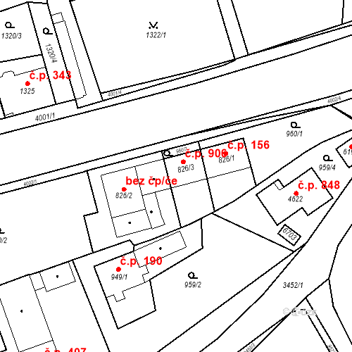 Katastrální mapa Stavební objekt Klatovy III 906, Klatovy