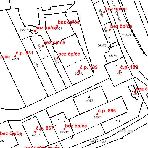 Katastrální mapa Stavební objekt Klatovy III 189, Klatovy