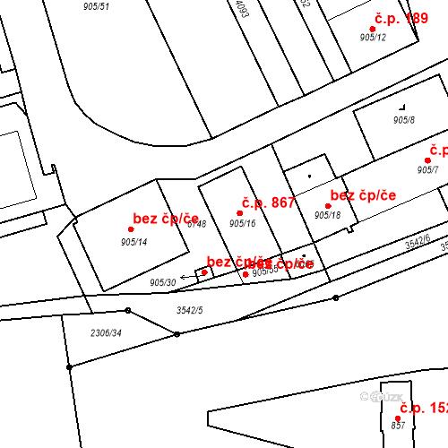 Katastrální mapa Stavební objekt Klatovy III 867, Klatovy