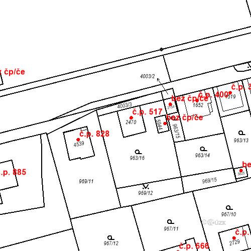 Katastrální mapa Stavební objekt Klatovy III 517, Klatovy