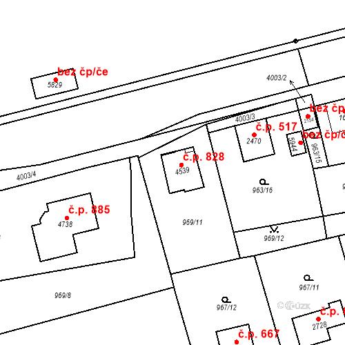 Katastrální mapa Stavební objekt Klatovy III 828, Klatovy