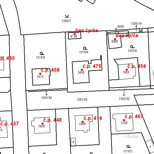 Katastrální mapa Stavební objekt Klatovy III 475, Klatovy