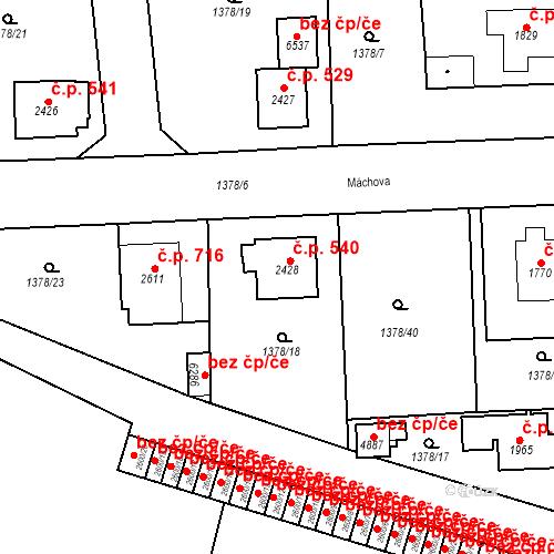 Katastrální mapa Stavební objekt Klatovy III 540, Klatovy