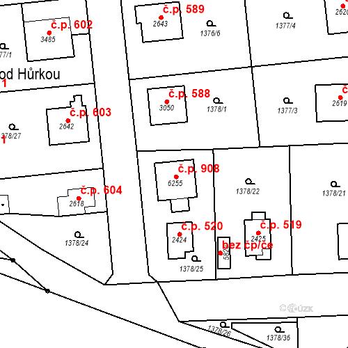 Katastrální mapa Stavební objekt Klatovy III 908, Klatovy