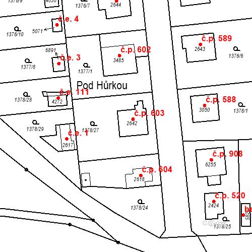 Katastrální mapa Stavební objekt Klatovy III 603, Klatovy