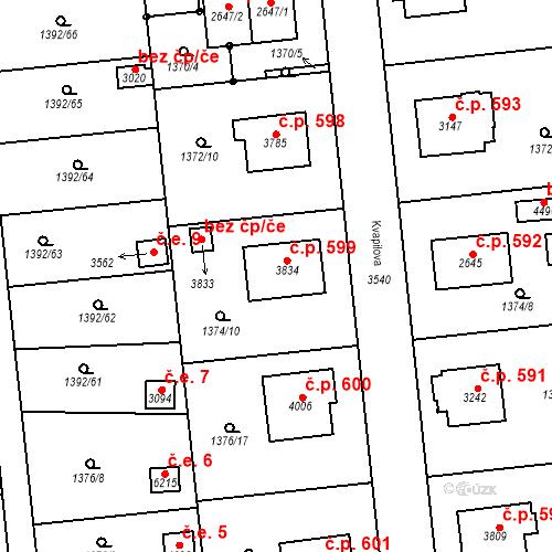 Katastrální mapa Stavební objekt Klatovy III 599, Klatovy