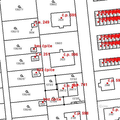 Katastrální mapa Stavební objekt Klatovy III 596, Klatovy