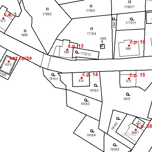 Katastrální mapa Stavební objekt České Hamry 14, Vejprty