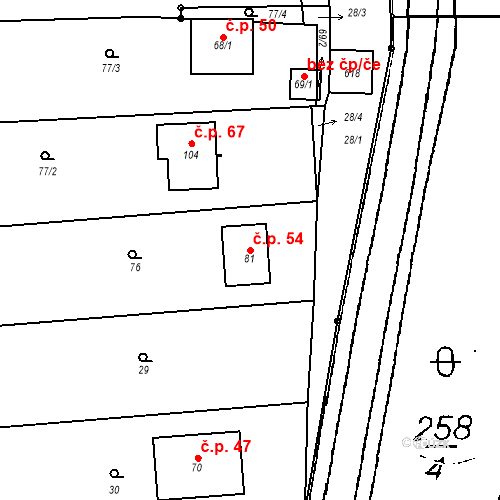 Katastrální mapa Stavební objekt Střelice 54, Střelice