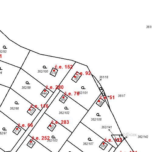 Katastrální mapa Stavební objekt Dolní Žďár 92, Ostrov