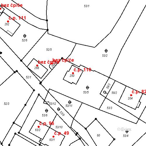 Katastrální mapa Stavební objekt Horní Žďár 110, Ostrov