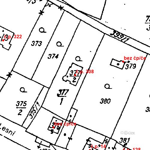 Katastrální mapa Stavební objekt Vlkýš I 308, Heřmanova Huť