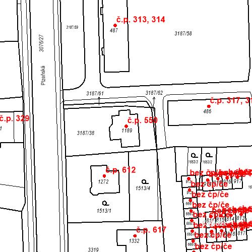 Katastrální mapa Stavební objekt Toužim 550, Toužim