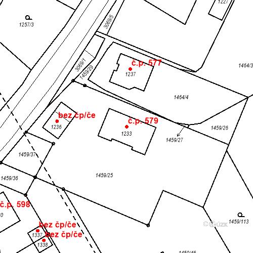 Katastrální mapa Stavební objekt Toužim 579, Toužim