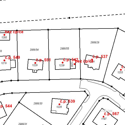 Katastrální mapa Stavební objekt Toužim 542, Toužim