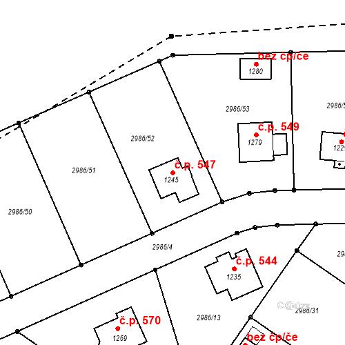 Katastrální mapa Stavební objekt Toužim 547, Toužim