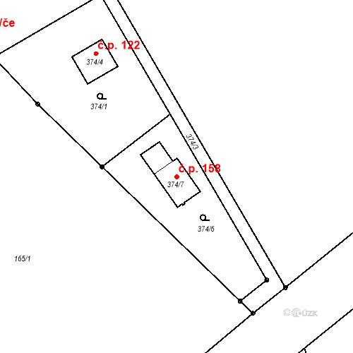 Katastrální mapa Stavební objekt Lesov 158, Sadov