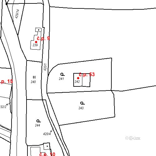 Katastrální mapa Stavební objekt Všeborovice 53, Dalovice