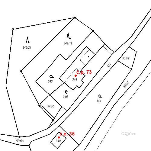 Katastrální mapa Stavební objekt Všeborovice 73, Dalovice