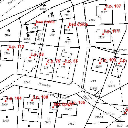 Katastrální mapa Stavební objekt Všeborovice 55, Dalovice