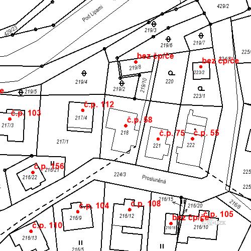 Katastrální mapa Stavební objekt Všeborovice 58, Dalovice