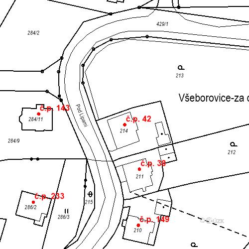 Katastrální mapa Stavební objekt Všeborovice 42, Dalovice