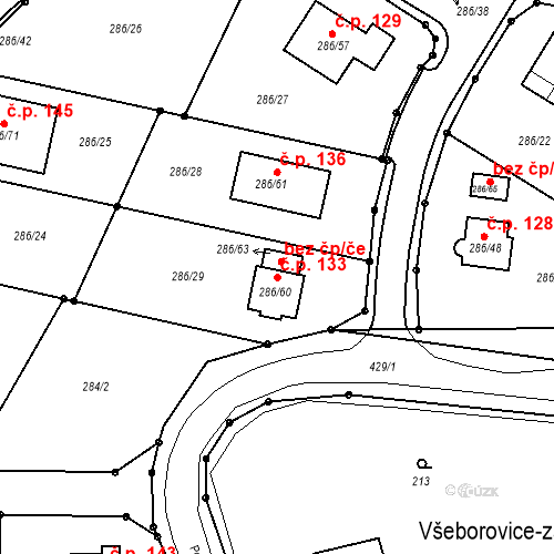 Katastrální mapa Stavební objekt Všeborovice 133, Dalovice