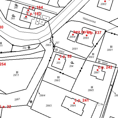 Katastrální mapa Stavební objekt Všeborovice 52, Dalovice