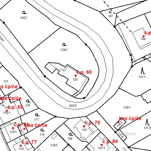 Katastrální mapa Stavební objekt Všeborovice 60, Dalovice