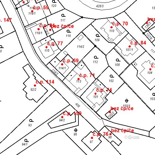 Katastrální mapa Stavební objekt Všeborovice 71, Dalovice