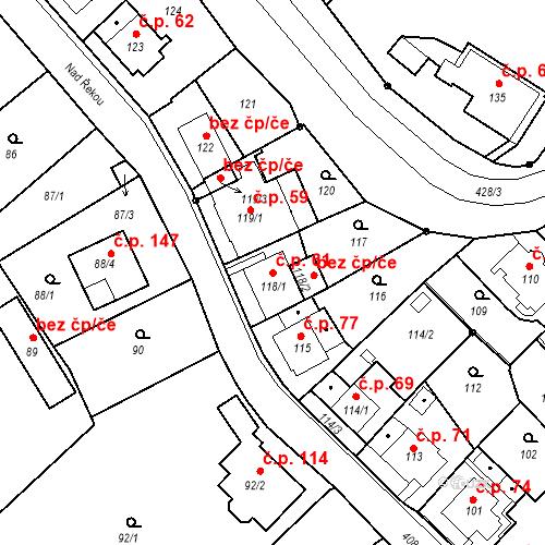 Katastrální mapa Stavební objekt Všeborovice 61, Dalovice