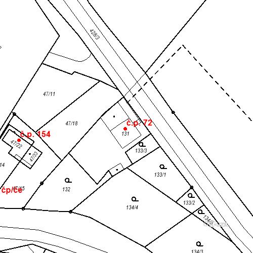 Katastrální mapa Stavební objekt Všeborovice 72, Dalovice