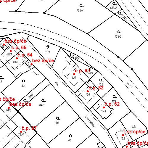 Katastrální mapa Stavební objekt Všeborovice 63, Dalovice
