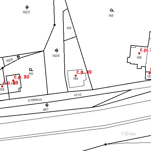 Katastrální mapa Stavební objekt Všeborovice 49, Dalovice