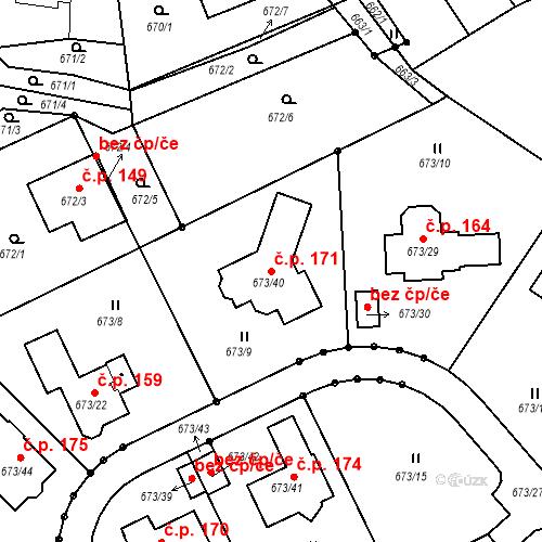 Katastrální mapa Stavební objekt Hůrky 171, Karlovy Vary