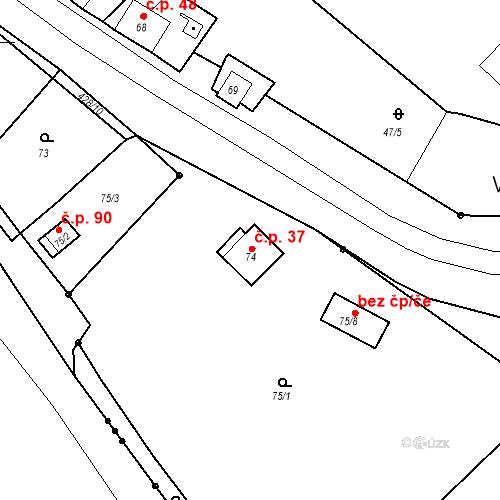 Katastrální mapa Stavební objekt Všeborovice 37, Dalovice