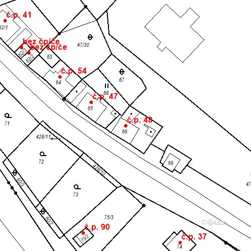 Katastrální mapa Stavební objekt Všeborovice 48, Dalovice