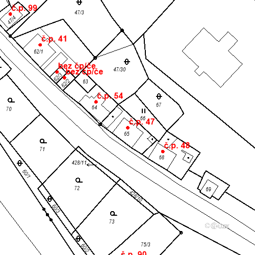 Katastrální mapa Stavební objekt Všeborovice 47, Dalovice