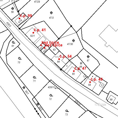 Katastrální mapa Stavební objekt Všeborovice 54, Dalovice