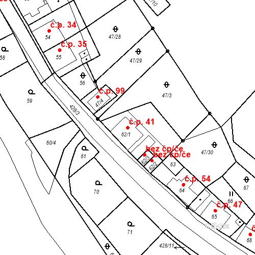 Katastrální mapa Stavební objekt Všeborovice 41, Dalovice