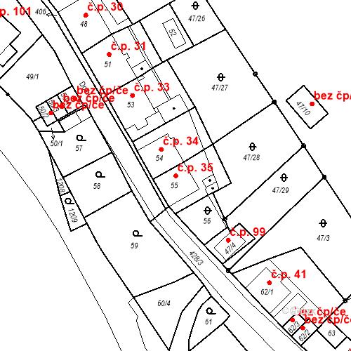 Katastrální mapa Stavební objekt Všeborovice 35, Dalovice