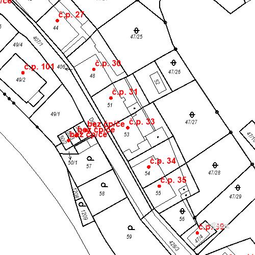 Katastrální mapa Stavební objekt Všeborovice 33, Dalovice