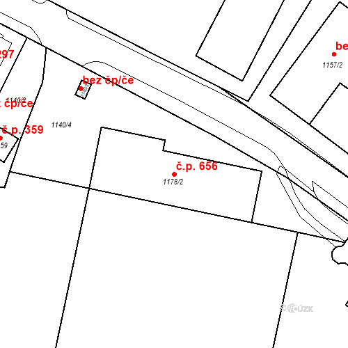 Katastrální mapa Stavební objekt Drahovice 656, Karlovy Vary