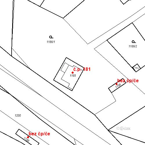 Katastrální mapa Stavební objekt Drahovice 181, Karlovy Vary