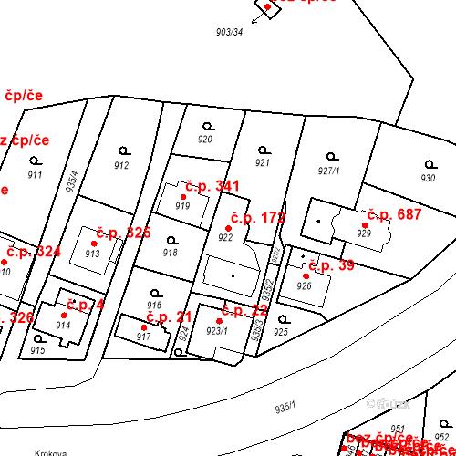 Katastrální mapa Stavební objekt Drahovice 172, Karlovy Vary